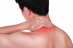 Close up suffering male pain in neck isolated white background. Stock Photo