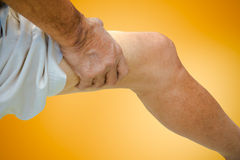Close up suffering old male pain Stock Photos