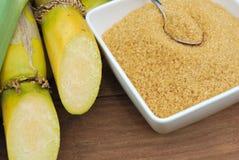 Close up Sugar and sugarcane Stock Photo