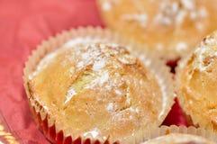 Close up of sugary cupcake. Close up of sugary muffin cupcake with sugar powder Royalty Free Stock Photo
