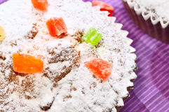 Close up of sugary muffin cupcake. With sugar powder and cukats Stock Photography