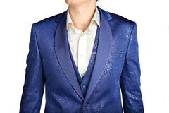 Close-up of suit blazer with blue patterned jacquard fabric Royalty Free Stock Photo