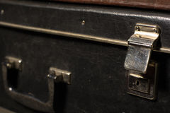 Close-up of a suitcase. Iron Castle vintage bag Royalty Free Stock Image