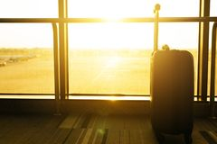 Close up of suitcase or luggage with sunlight in airport stock photo