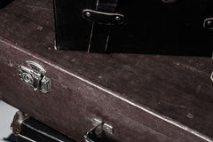 Close-up of a suitcase Traveler iron lock vintage bag Stock Photo