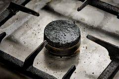 Close up sujo do queimador de gás Fotos de Stock Royalty Free