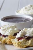 Close Up Sultana Scones with Jam and Cream Royalty Free Stock Photo