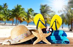 Close-up of summer accessories. Royalty Free Stock Photos