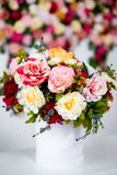 Close up of summer bouquet of flowers over colorful background royalty free stock image