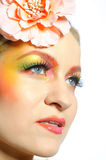 Close-up of summer fashion creative eye make-up Royalty Free Stock Photos
