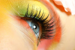 Close-up of summer fashion creative eye make-up Stock Photo