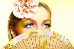 Close-up summer fashion creative eye make-up Royalty Free Stock Photography