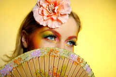 Close-up of summer fashion creative eye make-up Stock Photos