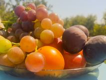 Close up of summer fruits on a table. Stock Image