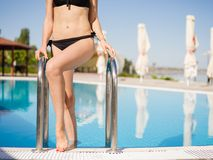 Close-up bikini girl walking out the pool on a blurred background. Hotel recreation concept. Royalty Free Stock Images