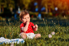 Close-up summer portrait of beautiful baby girl on the lawn in the park. Cute little girl in the white dress. Summer or spring season in the city park. Warm Royalty Free Stock Photos