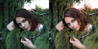 Summer girl portrait before and after retouch. royalty free stock photos