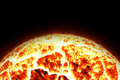 Close up the sun and flame Stock Image