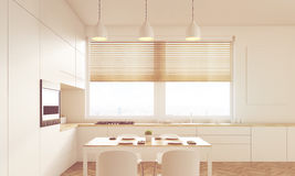 Close up of sunlit kitchen table Stock Photos
