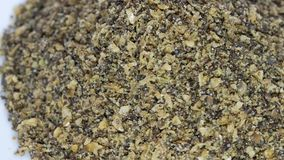 Super Seed Mix of milled colden linseed, hempseed and chia seed stock footage