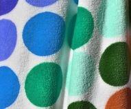 Close up surface of beautiful and colorful fashion textiles and fabrics royalty free stock photography