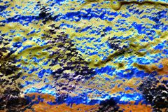 Close up surface of colorful paint sprayed on concrete and cement walls in high resolution stock illustration