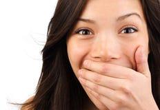Close up surpreendido da mulher Imagem de Stock