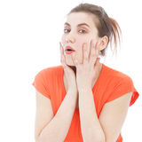 Close Up of Surprised Woman with Hands on Face royalty free stock photos