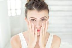 Close-up surprised woman portrait. stock image