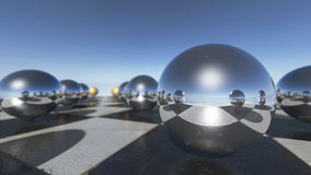 Close up of surreal oprganic spheres on a checkerboard. 3D rendering Royalty Free Stock Photography