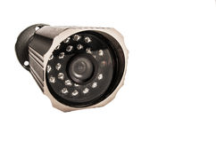 Close up of a surveillance camera isolated on white background Stock Images
