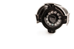 Close up of a surveillance camera isolated on white background Stock Photography