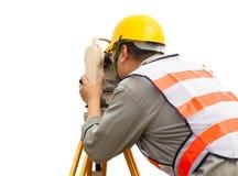 Close-up of Surveyor engineer making measure stock images