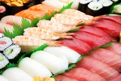Close up of Sushi arranged. Royalty Free Stock Photo