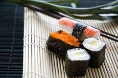 Close up sushi on mat Stock Image