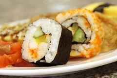 Close up sushi on plate Stock Images