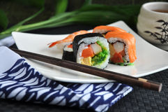 Close up sushi roll on plate Royalty Free Stock Image