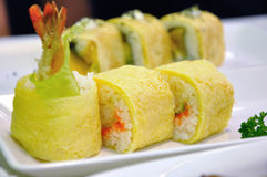 Close up of Sushi Roll. Sushi Prawn in egg roll stock image
