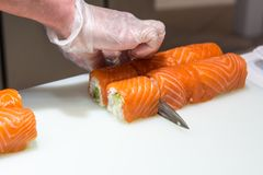 Serving sushi on white plate Royalty Free Stock Image