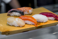 Close up Sushi set on wood plant Stock Photography