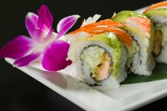 Sushi on a white plate. Close up of sushi on a white plate royalty free stock photography