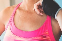 Close up sweat on sporty woman`s body, Beauty and Healthy lifest stock images
