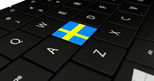 Close up of Sweden button. Royalty Free Stock Images