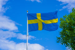 Close up Sweden flag Stock Photos