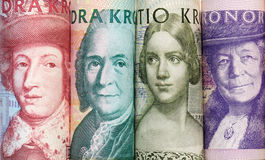 Five different face values of Swedish banknotes Royalty Free Stock Images