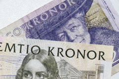Close-up of Swedish Kronor, Swedish currency bills.  Royalty Free Stock Image