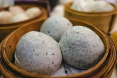 Close up Sweent Steam Buns on the wooden basket stock photo
