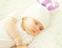 Close-up sweet baby sleeping at home on the bed. Top view Royalty Free Stock Photo