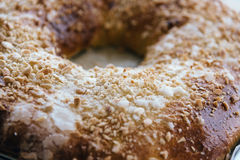 Close Up Of of sweet bread ringed dessert with sugar and almonds Stock Images