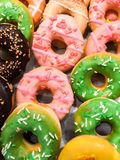 Sweet donuts. Close up sweet donuts scene bakery and food backgrounds royalty free stock images